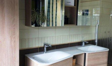 mobilier de salle de bains double vasque en 1.50m plus colonne en 35 cm